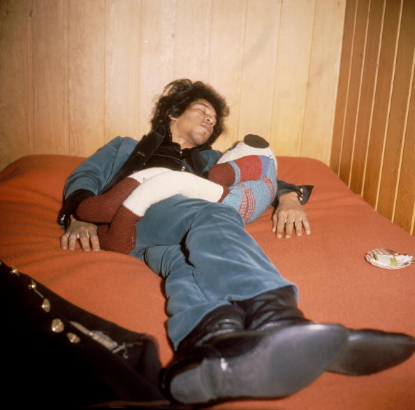 theswinginsixties:  Jimi Hendrix takes a nap.   Stone cold cute.