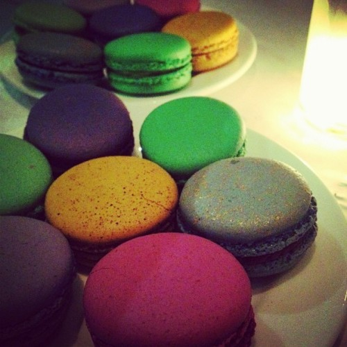 thechernoble:  Double rainbow made of macarons. With @marebear264, of course. (Taken with Instagram at Bottega Louie)  I want to eat all the bad things.
