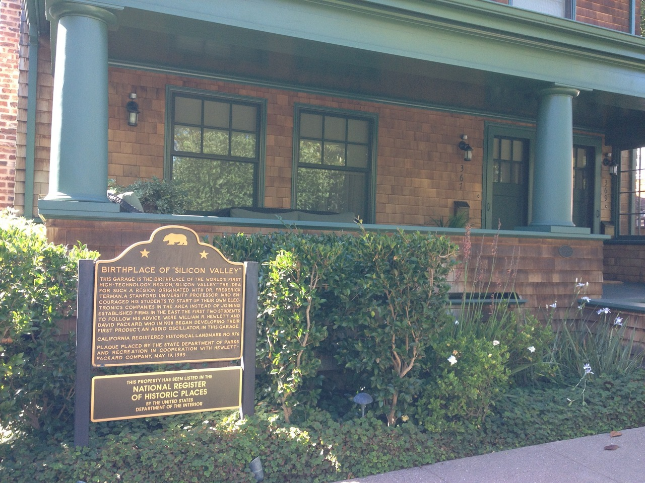 367 Addison Avenue, Palo Alto. Where it all began for Hewlett and Packard.
