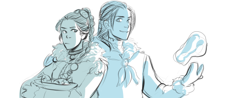 "Female!Sokka and Male!Katara. It was really difficult coming up with designs for the genderbends for these two (it'll be just as hard doing it for everyone else too…), and it's even more difficult thinking about how they'd be characterized when they're the opposite gender because both Sokka and Katara, more than any of the other characters in ATLA, are very much defined by their gender roles. Katara is the mother, she does the sewing and the cooking and the cleaning (and is badass on the side! The thing that's perfect about Katara is that she fulfills the traditional ""feminine"" role AND is a kickass waterbending master who can more than take care of herself). Sokka is the ""man of the house"" and he  hunts and is responsible for protecting his sister. Reversing their genders messes with such huge chunks of their identities. If f!Sokka were the nonbending sister and it was m!Katara who found Aang in the iceberg, I'd bet that f!Sokka would never have gone with them on the journey in the first place. Sokka went with Katara because it was his responsibility to protect her; if Katara were a boy and Sokka were a girl, I don't think he'd see a need to go with them."