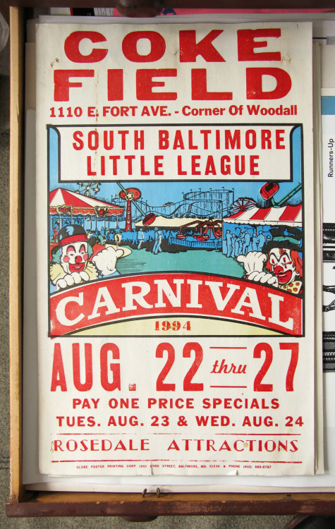 Letterpress Poster Week: Day 7. Coke Field Carnival. Globe Poster, 1994. Apparently highly recommended by 2 clowns.
