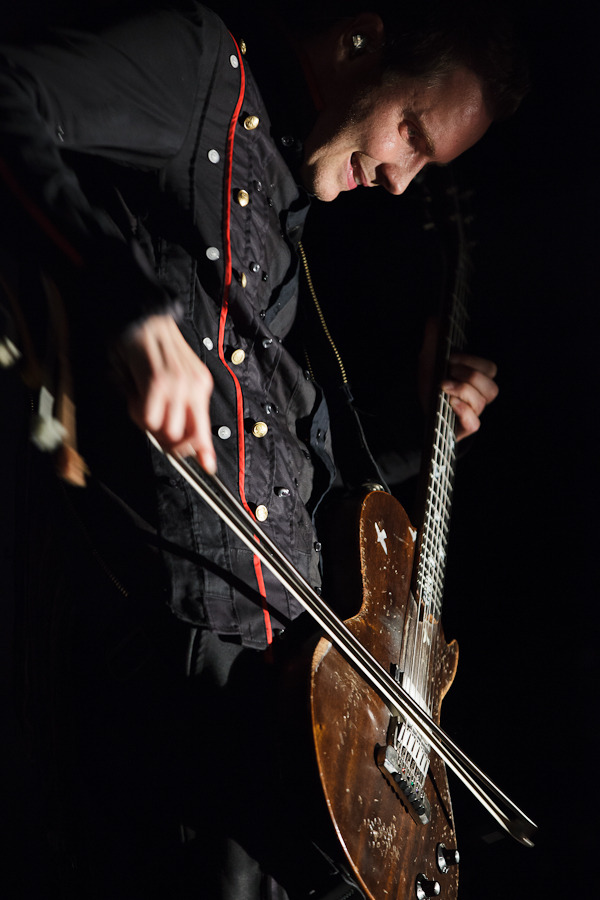 Jonsi of Sigur Rós performing at the Mann Center's Skyline Stage on July 29, 2012. The first Sigur Rós show in four years. © Dominick Mastrangelo on assignment for BrooklynVegan. A full set of photos can be found here.