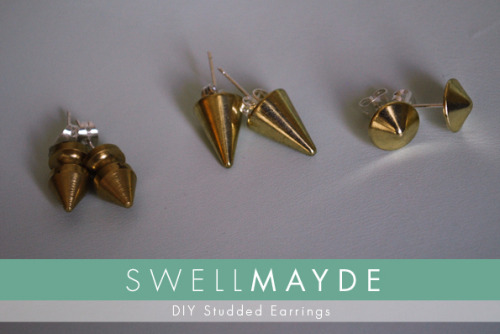 DIY Easy Stud and Spike Earrings from Swellmayde here. For more projects using studs and spikes go here: truebluemeandyou.tumblr.com/tagged/spikes and here: truebluemeandyou.tumblr.com/tagged/studs
