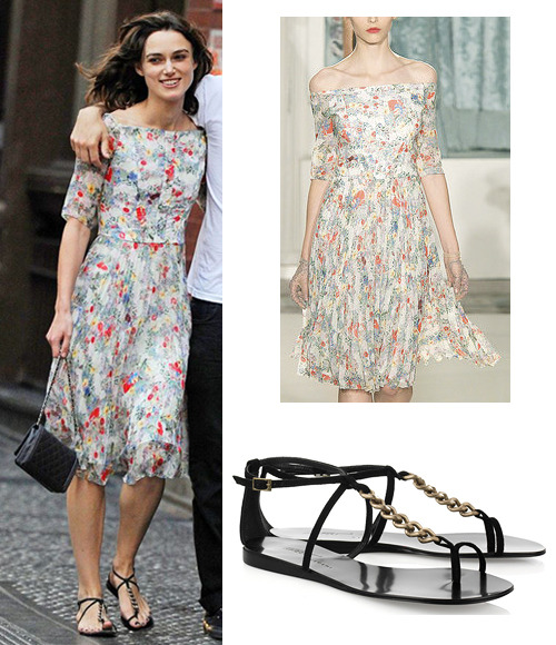 Keira Knightley took a stroll in New York with boyfriend James Righton in an Erdem Spring/Summer 2012 floral dress, Tapeet by Vicini Spring/Summer 2012 chain sandals and a Chanel Boy handbag