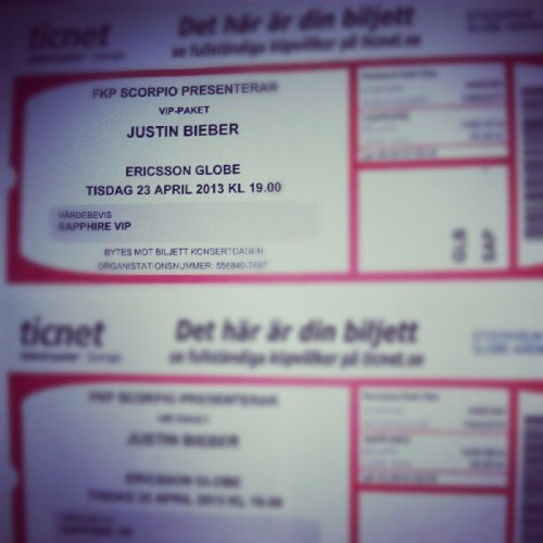 Jorå men så att.. #ticket #justinbieber #BELIEVE #tour #april #23rd #2013 #happy #as #fuck #instaporn #instahappy #gonna go #with #my #m8 @rasmussjostedt #boy #belieber (Taken with Instagram)