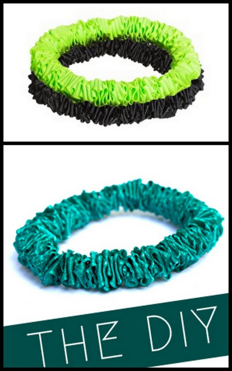 truebluemeandyou:  DIY ASOS Knockoff Ribbon Bracelets from Quiet Lion here. I must be tired because I had to read this tutorial two times to understand you use elastic thread to bunch up the ribbon to make this really easy knockoff. Top Photo: ASOS Ribbon Bracelets now on sale for 2/$6.63 here (good price now that they are sale, but colors are limited to black and neon yellow/green), Bottom Photo: DIY by Quiet Lion. *For lots more knockoffs go here: truebluemeandyou.tumblr.com/tagged/knockoff