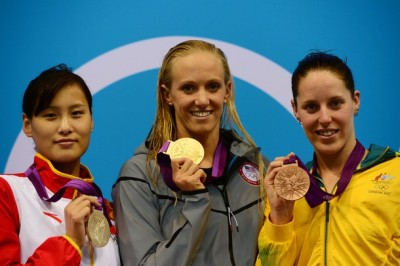Swimming: Women's 100m Butterly 1. Dana Vollmer (USA) 2. Lu Ying (China) 3. Alicia Coutts (Australia)