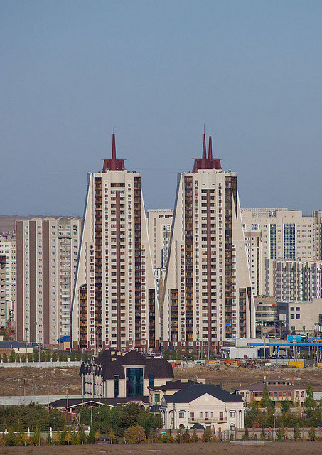 Baikonur towers in Astana, Kazakhstan by Eric Lafforgue on Flickr.