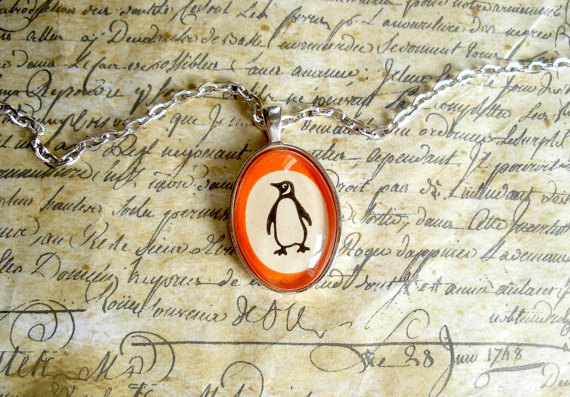 Necklace made with Vintage Penguin Book Cover
