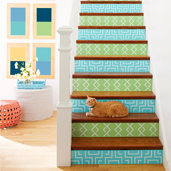 Stenciled Stair Raisers | Lowe's Creative Ideas This amazing DIY makes me want a house with stairs! Such a cool idea, and so easy to customise. The cat is pretty cute too!
