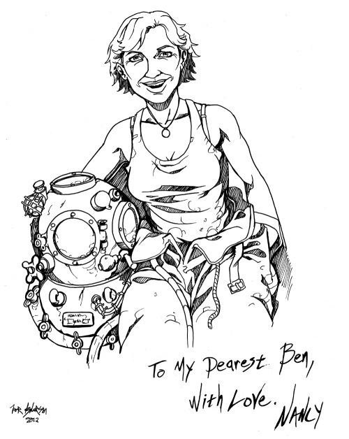 Sketch of Nancy, character from upcoming 'Dark Waves' comic book.  Follow Dark Waves on Facebook