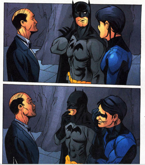 actioncomics:  this is probably the rarest moment of Batman family happiness ever