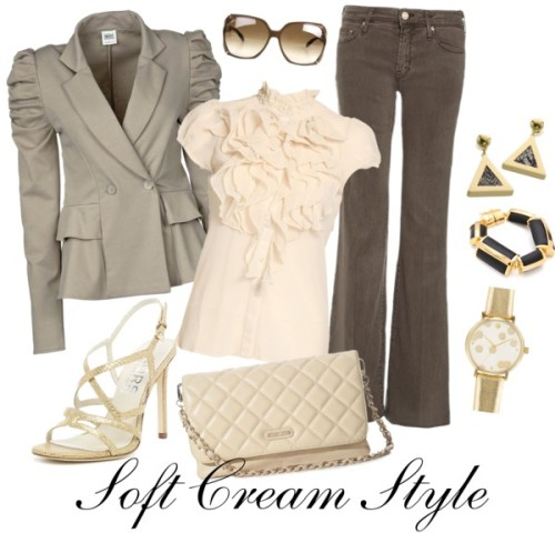 Soft Cream Style by witchy13 featuring mother jeansSaint Tropez blouse, $630 / Hemp jacket, $130 / MOTHER  jeans, $330 / KORS Michael Kors gold sandals / GUESS by Marciano shoulder handbag / Tory Burch  jewelry / Gucci  shades, $360