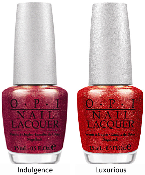 "OPI releases two new high-shine hues – DS Indulgence and DS Luxurious – to join the Designer Series by OPI collection this fall. Fusing fashion and technology, the Designer Series lacquer formula is enhanced with real diamond dust, offering light reflecting, multidimensional color: DS Indulgence - A radiant red-violet with a shimmering, golden finish. DS Luxurious - A captivating coral-red with a golden glisten. ""Red nails are the epitome of glamour, and this fall OPI is adding two dazzling reds to the Designer Series line,"" says Suzi Weiss-Fischmann, OPI Executive VP & Artistic Director. ""With vivid color and intense shimmer and shine, these lacquers create a bold, high-fashion accessory statement. DS Indulgence provides a deeper, classic red look, while DS Luxurious incorporates rich auburn pigments."" Designer Series by OPI nail lacquers contain no DBP, Toluene, or Formaldehyde, and each includes OPI's exclusive ProWide™ Brush for the ultimate in application. DS Indulgence and DS Luxurious will be available beginning September 2012 at Professional Salons, including Beauty Brands, Beauty First, Chatters, Dillard's, JCPenney, Pure Beauty, Regis, Trade Secret, and ULTA, for $12.50 ($14.95 CAN) suggested retail for each Nail Lacquer. I am so excited for these! The existing Designer Series shades are all so stunning, so I'm certain the two new shades won't disappoint."
