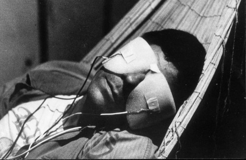 Image from Chris Marker's La jetée. Henri Bergson writes: The afferent nerves are images, the brain is an image, the disturbance travelling through the sensory nerves and propagated in the brain is an image too. If the image which I term cerebral disturbance really begot external images, it would contain them in one way or another, and the representation of the whole material universe would be implied in that of this molecular movement. Now to state this proposition is enough to show its absurdity. The brain is part of the material world; the material world is not part of the brain. Eliminate the image which bears the name material world, and you destroy at the same time the brain and the cerebral disturbance which are parts of it. Suppose, on the contrary, that these two images, the brain and the cerebral disturbance, vanish : ex hypothesi you efface only these, that is to say very little, an insignificant detail from an immense picture. The picture in its totality, that is to say the whole universe, remains. To make of the brain the condition on which the whole image depends is in truth a contradiction in terms, since the brain is by hypothesis a part of this image. Neither nerves nor nerve centres can, then, condition the image of the universe.