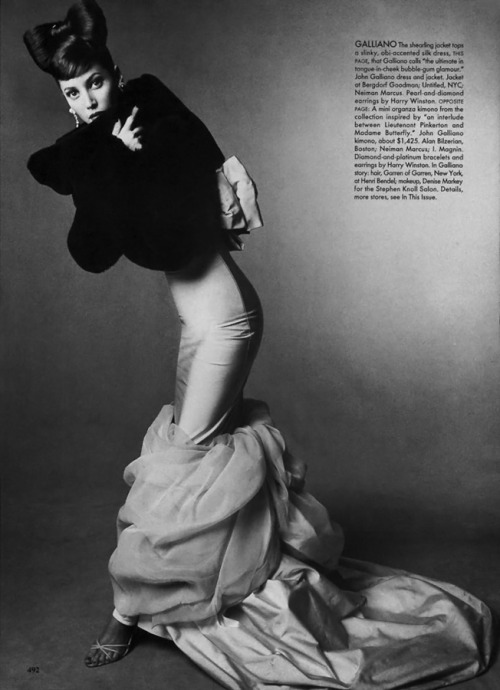 90's flashback: Christy Turlington in John Galliano, photographed by Steven Meisel for Vogue US September 1994.