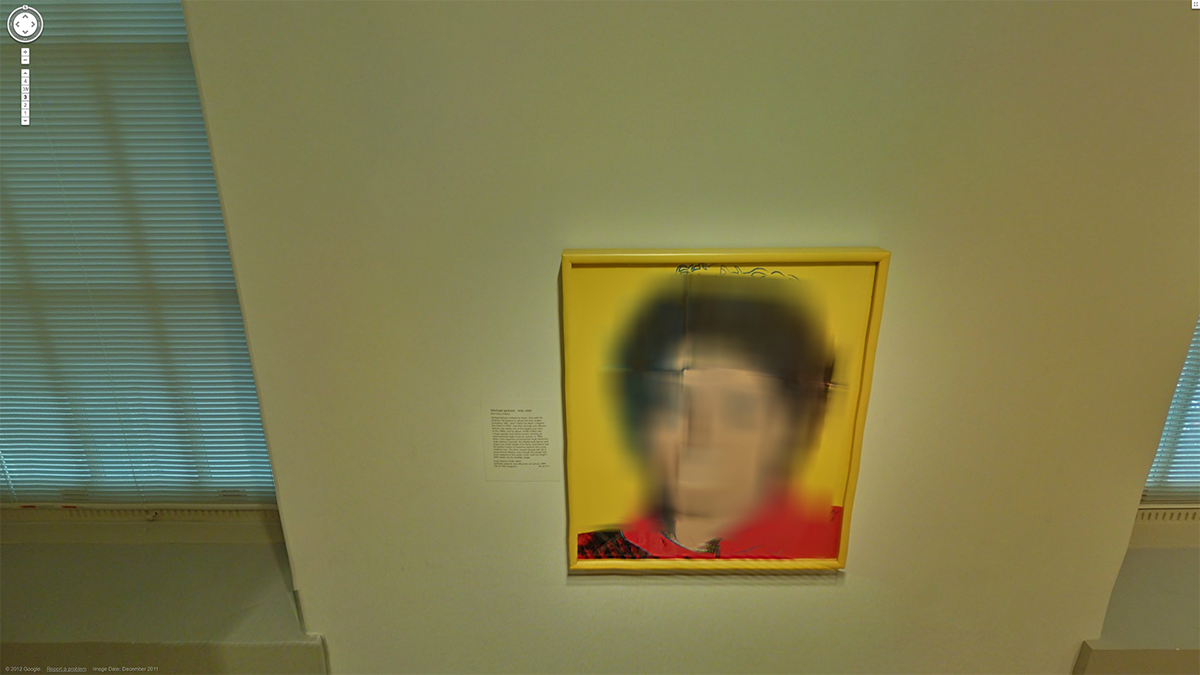 G©©gle: From The National Portrait Gallery at The Smithsonian, Google Museum View Screenshot, ~ Googlegeist ~ ~ Original painting is a Portrait of Michael Jackson by Andy Warhol. Blurred out by Google for reasons pertaining to copyrights. ~