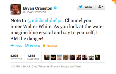 Bryan Cranston Deserves A Gold Medal In Tweeting At Olympic Athletes