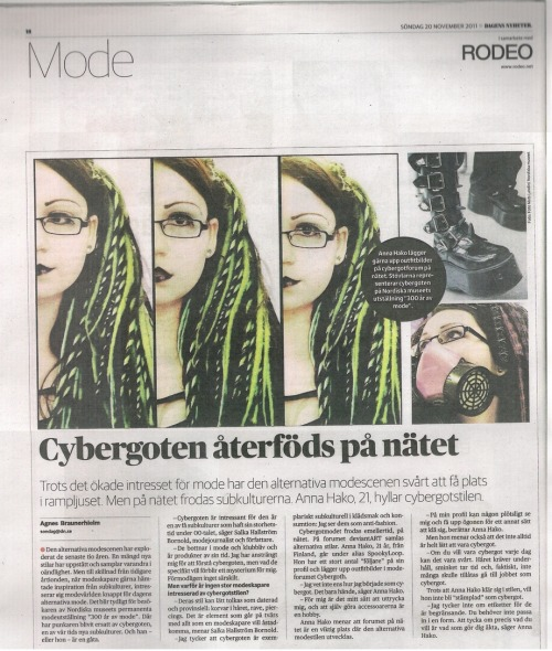 I was featured in a Swedish newspaper Dagens Nyheter last year :3