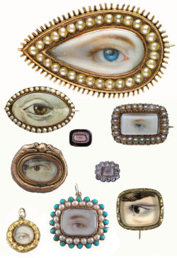 "theoddmentemporium:  Lover's Eyes Lover's eyes are hand-painted portraits on ivory which were popular in England between the 1780s and 1830s. The history of this jewelry style is as juicy as the paintings are gorgeous. Since romantic love didn't typically exist within the confines of a marriage at this point in history, affairs were pretty common. So how would you show your loyalty to your lover? By wearing a sentimental portrait of an unidentifiable part of their person, of course. According to the Smithsonian, ""One of the earliest known eye miniatures was painted in 1786 by the English artist Richard Cosway for the Prince of Wales, later King George IV. The miniature showed the eye of Mrs. Fitzherbert, the prince's mistress."" And since just the eye of one's lover was visible, the piece could be worn while your inamorata's identify remained secret. It's also been theorized that the ""single eye also symbolized the watchful gaze of a jealous partner, who feared that his or her lover might stray."""