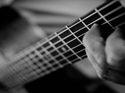 """EMom, how do I learn to play guitar?"" Learn scales, notes, and chords, and how to hold your guitar properly. Practice often to develop callouses. Play along to music or a metronome to learn rhythm. Stay motivated, and keep practicing!http://www.myemom.com/how-do-i-learn-to-play-guitar/"