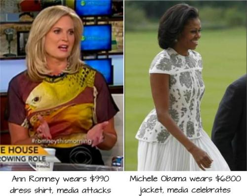 "mediaresearchcenter:  Ann Romney wears a $990 dollar dress shirt and the media ATTACK her as wealthy, out of touch, and her husband's campaign as ""tone deaf."" http://bit.ly/MVBcUx Michelle Obama wears a $6800 jacket and the same people CELEBRATE her elegant style as ""fit for a queen."" 'REBLOG' if you agree —> The media ATTACKS people who are wealthy, unless of course….. They're Democrats!   word.At least Mrs. Romney pays or her own stuff. Not with taxpayer dollars."