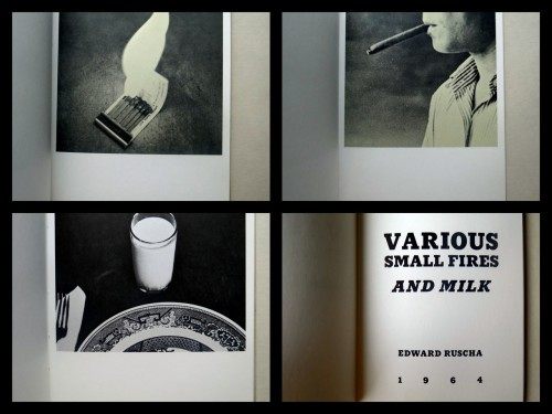Images from Edward Ruscha's artist book Various Small Fires and Milk (1964) In case you've missed some recent posts on our main blog, we've been featuring and discussing artist books from our collections. If you happen to be in the Washington, DC area we have some of them on display at our Smithsonian American Art Museum/National Portrait Gallery Library so do drop by! (fyi, we're not located in the museum itself — check the website for more info.)