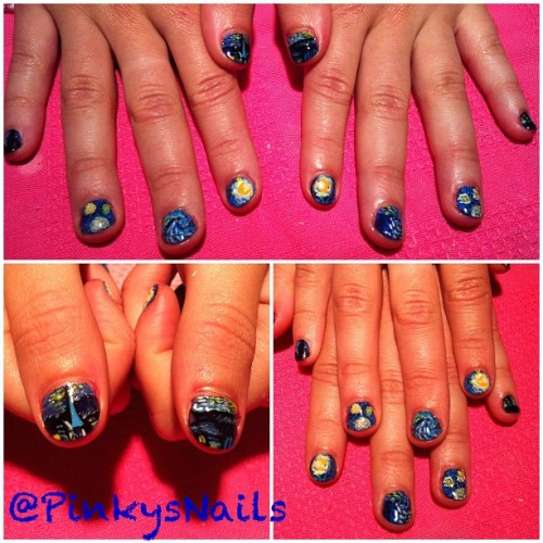pinkysnails:  A little bit of Van Gogh's Starry Night by Jen ! (Taken with Instagram at Pinky's Nails)