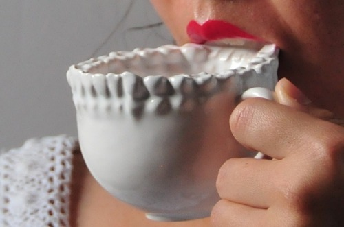 The Disconcerting 3D Printed Teeth Tea Cup Do you want to sip high tea from the Teeth Tea Cup 3D Printed in Ceramics by Shapeways? On Proper Usage and Inhibited Ingestion: Why is it that we find the cup so unappetizing? Could it have originated from survival tactics where we relate our proximity to another's teeth as a threat of life, a reminder of predator and prey, poison and contamination? Is this object then successful in its design to prevent gluttonous behavior should food and drink only be offered in the cup? more information at Lily Su's site.