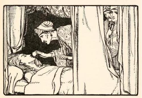venusmilk:  Fairy tales from the Arabian nights, 1915Illustrations by John D. BattenPrince Ahmed no sooner saw himself in Nouronnihar's room, and perceived the princess dying, than he rose off the tapestry as did also the other two princes, and went to the bed-side, and put the apple under her nose.
