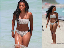 Angela Simmons wearing a swimsuit from Vanessa Simmons line