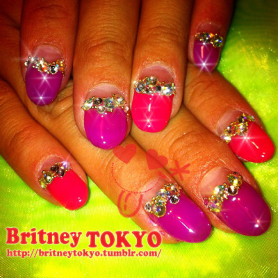 Acrylic Base/ Gel deep french/ Swarovski crystals nail art  By Britney TOKYO ☆ ✌ ✿ ✡ ✟ ☺ ✞ TOKYO meets HOLLYWOOD ✞ ☺ ✟ ✡ ✿ ✌ ☆ http://britneytokyo.tumblr.com/