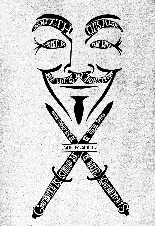 inspiredbyhope:  designersof:  V for Vendetta by Drew WallaceFollow his TumblrBuy this print/phone case/shirt   Fukcing love this!!!  Every time i see the V mask I think how awesome a tatoo it would be and everything it would represent!