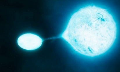 An artist's rendition of a 'vampire star' sucking gas from another star so that it can become bigger and brighter.  Scientists have long known that some of the biggest, brightest stars in our galaxy are part of binary two-star systems. But a new study suggests that far more of these stellar duos exist than once believed, with many exhibiting signs of a violent relationship. Indeed, in many pairs, one star will often suck the life from its partner to become bigger, more powerful, and more luminous.  The surprising prevalence of killer 'vampire stars'