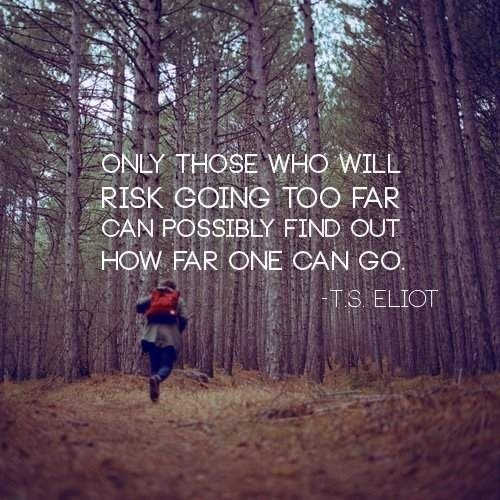 Only those who will risk going too far can possibly find out how far one can go — T.S. Eliot
