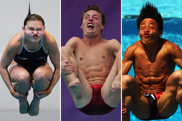 washingtonpoststyle:  No one looks good while diving competitively. Via the FW, which has many more great shots. Our Olympics headquarters is here. Photos by Matt King, Adam Pretty & Al Bello (Getty)