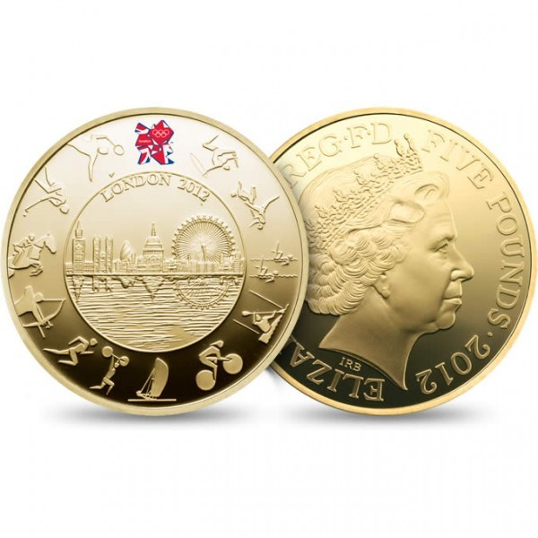 LONDON 2012 OLYMPIC 5 POUND COIN The only Official London 2012 UK coins to feature the Olympic emblem with a full colour Union flag infill. Price: £2,736.00!!!