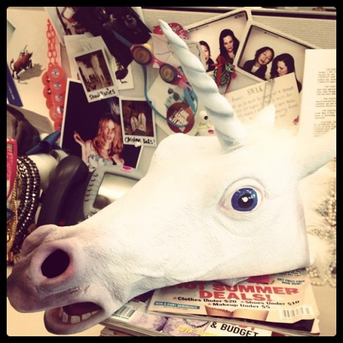 Thanks @jassnow for my new magical unicorn mask. My day has been made.  (Taken with Instagram at Hearst Tower)