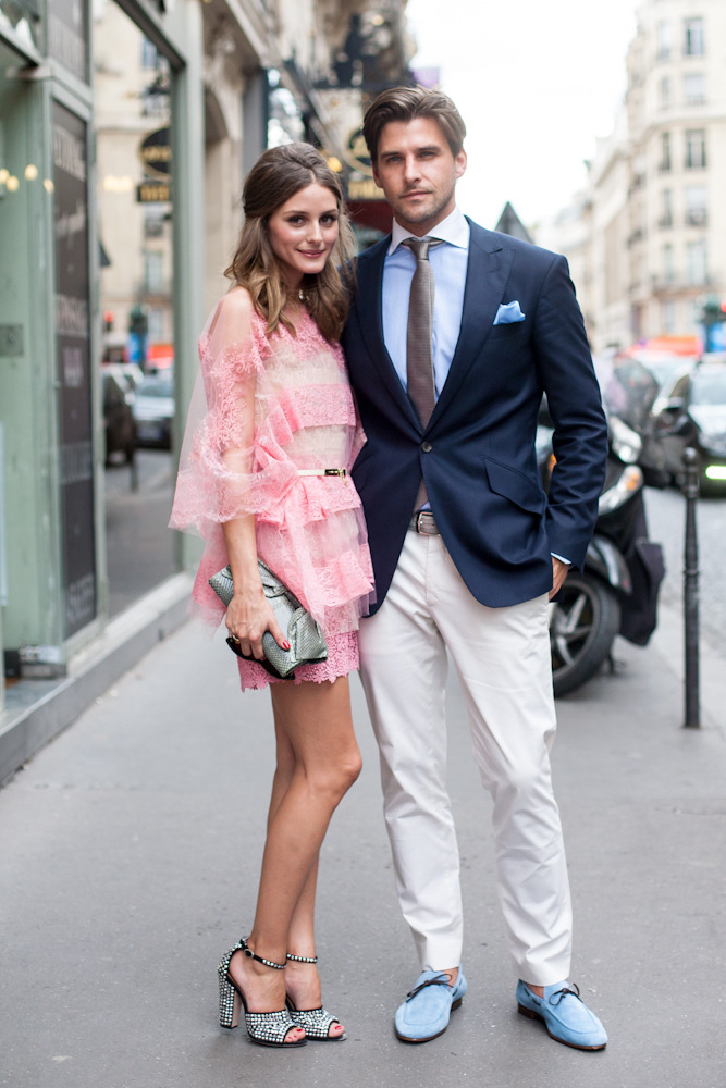 topshop:  Olivia Palermo and her beau look adorable. We're real suckers for her jeweled sandals!