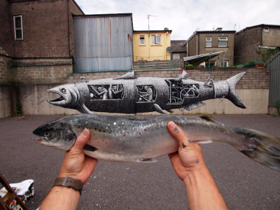 New salmon mural by phlegm in West Cork, Ireland.