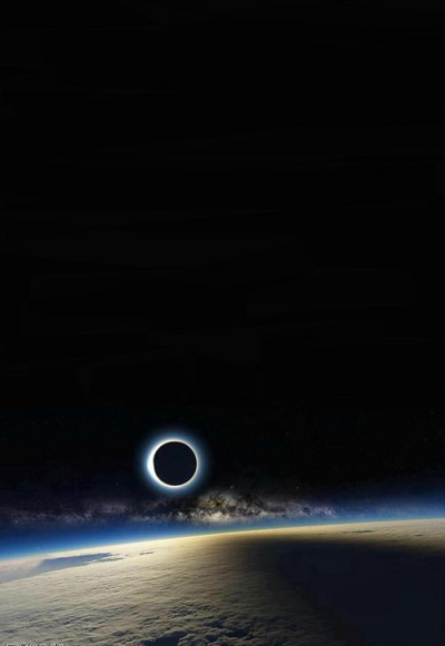 The solar eclipse from space