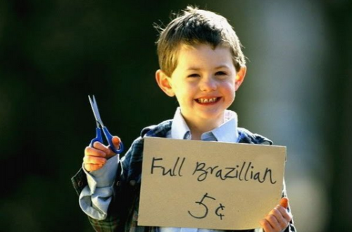 Kid Offers Brazilian Look suspicious, but five cents is a bargain.
