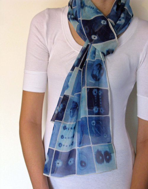 jtotheizzoe:  Blue Mitosis Silk Scarf Michele Banks makes some of my favorite science-themed art. She even let me use some on my business cards! For the stylish science folks in your life (who also happen to wear scarves), here is mitosis, in blue. (by artologica on Etsy)