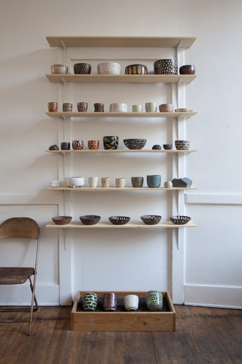 ceramic stand at exilo, photo by roger davies, via pilarwiley.com