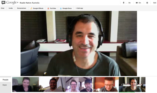 I've been vocally disdainful of Google+, but Google Hangouts is a big win. there's a few interface improvements I'd suggest in place of more silly hats in the effects toolbar, but overall a great experience. bottom left-right: Glendale, Tarzana, Lake Arrowhead, Syndey, Sydney