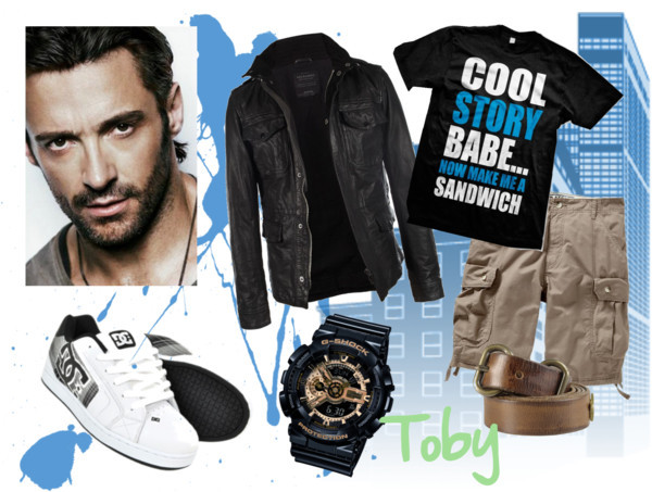Toby Casual by moundu on polyvore.comSeville Leather Jacket / Men's Belt / G-Shock Baby G Men's X-Large Black & Gold Combi Watch / DC Net Plaid SE trainers – DC skate shoes – mens skate shoes – mens…, $79 / Old Navy Mens Tie Leg Cargo Shorts 11 / Emo Cool Story Babe… Now Make Me A Sandwich Mens T-Shirt, Big And…