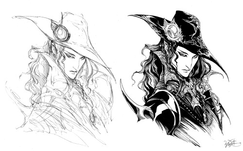 """Vampire Hunter D sketch n ink"" by WittA"