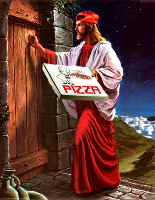 Jesus Delivering Pizza by xhaloh - clearly not the right idea but too funny to not post
