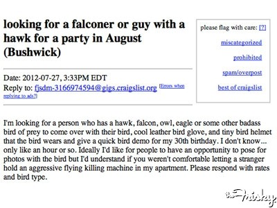 Be My Boyfriend: Guy Who Wants A Hawk At His 30th Birthday Party