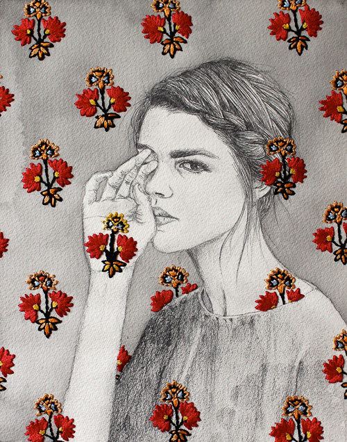 Embroidered drawing, Izziyana Suhaimi